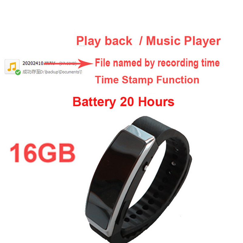 16G smart bracelet music player audio recorder MP3 player w voice recorder time stamp battery 20H