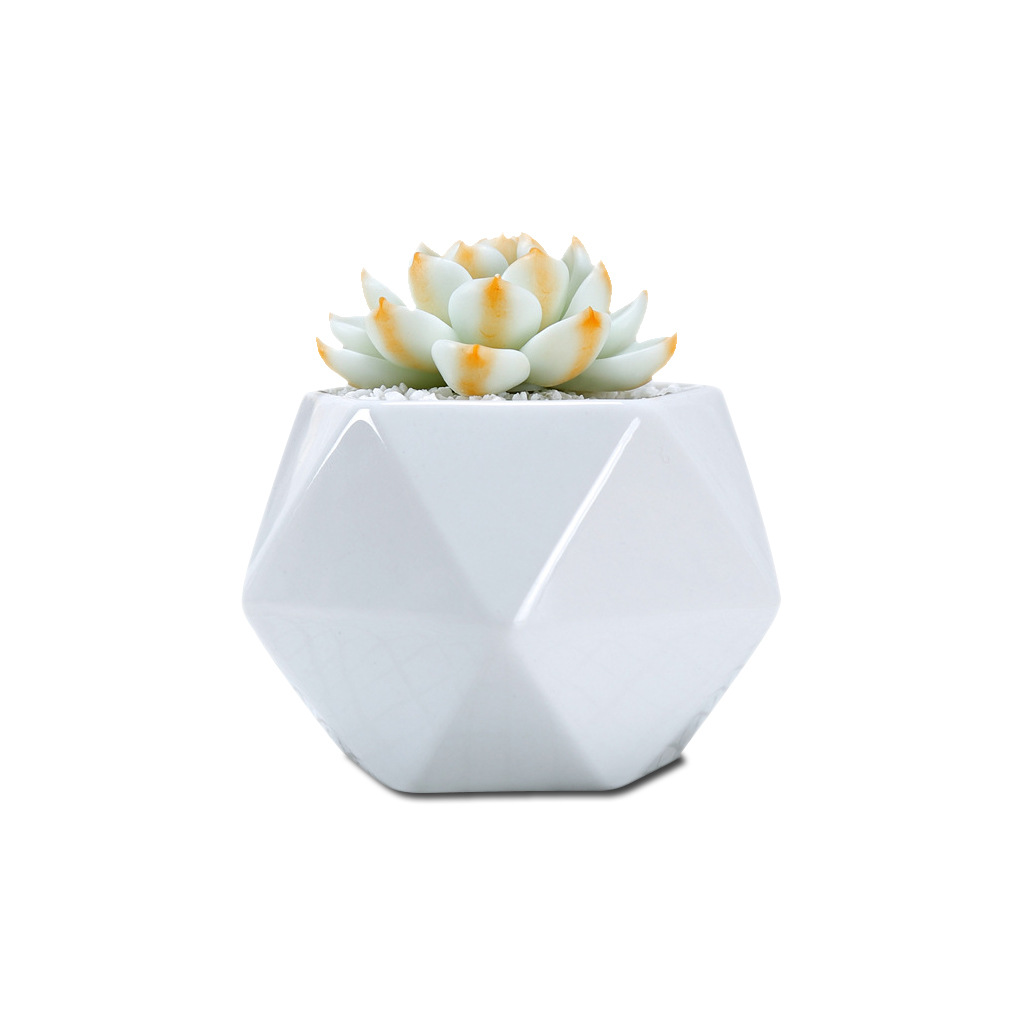 Creative White Ceramic Tri-angle Stitching Pentagon Succulent Flower Pot Planter Home Pot For Cactus Lithop With Bottom Hole Pot