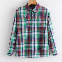 Women S Elegant Pearls Beading Plaid Shirts Checkered Long Sleeve Turn Down Collar Blouse Casual Woman