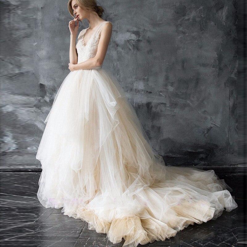 Kadın Giyim'ten Etekler'de Zarif Düğün Etek Katmanlı Fırfır Gelin Yumuşak Tutu Tül Etek Süpürme TrainCustom Made Gelin Yeni Gelen Güzel'da  Grup 1