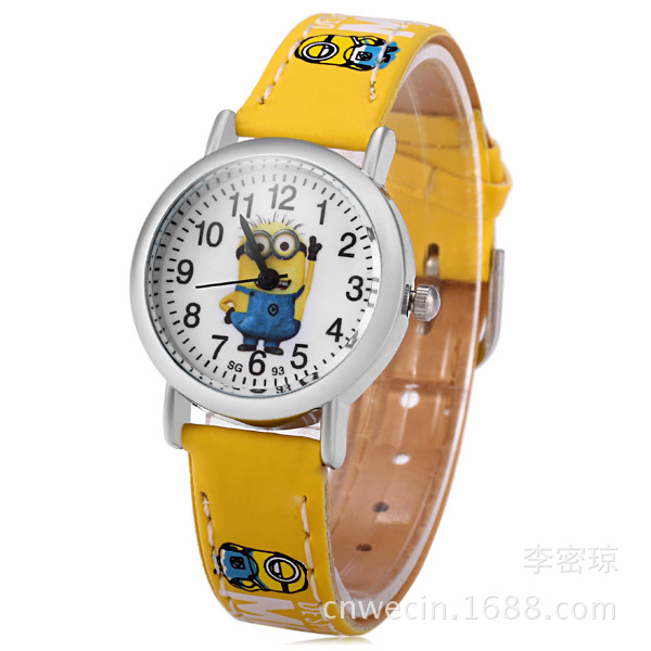 2018 New Hot Sell 3D Eye Minion Children Cartoon Watch Women Men Quartz Watch Kids Leather Watches Students Sports Wristwatches