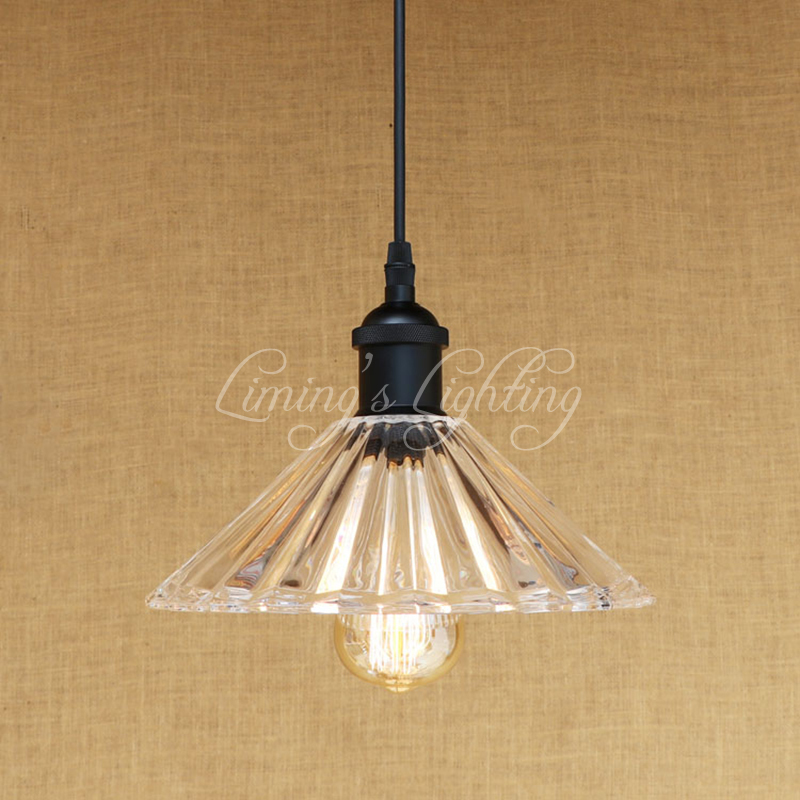 Retro Clear Glass Shade Indoor Lighting Pendant Light E27 Living Room Pendant Lights LED Edison Bulb 220v For Dining Room Bar modern semi circular glass shade pendant lamp led edison bulb pendant light fixture for kitchen lights dining room bar e27 220v