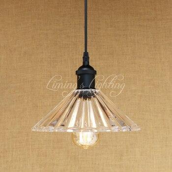 Retro Clear Glass Shade Indoor Lighting Pendant Light E27 Living Room Pendant Lights LED Edison Bulb 220v For Dining Room Bar