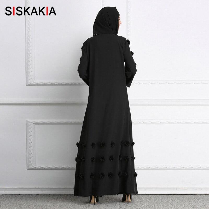 d8a1b40b99 US $26.69 39% OFF|Siskakia Muslim Cardigan Abaya 3D Flower design women  Gowns Solid fashion Ramadan Robes Musulman kaftans and Jubah UAE Eid  Adha-in ...