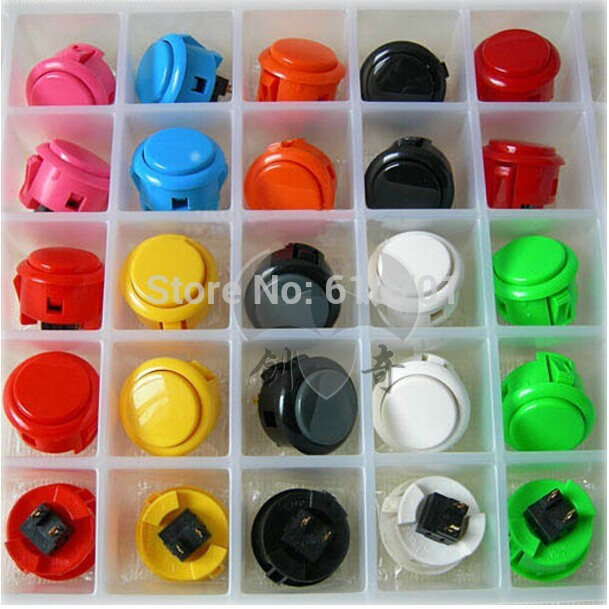 2pcs Original Sanwa Push Button OBSF-30 30mm Arcade Jamma Game Joystick Wobble Switch White Black Red Yellow Gray Blue Green VER 6pcs 22mm momentary push button switch red green blue yellow black white normal open normal close