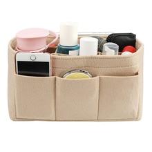Felt Cloth Insert Tároló táska, Smink Tároló Szervező Multi-zsebek illeszkedik a táska Kozmetikai Toalett kellékek táskák Utazás Szervező