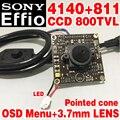 """Sony Чип 3.7 мм острый конус Analog hd Мини-Монитор камеры модуль 1/3 """"CCD Effio 4140 + 811 800tvl OSD meun продукты наблюдения"""