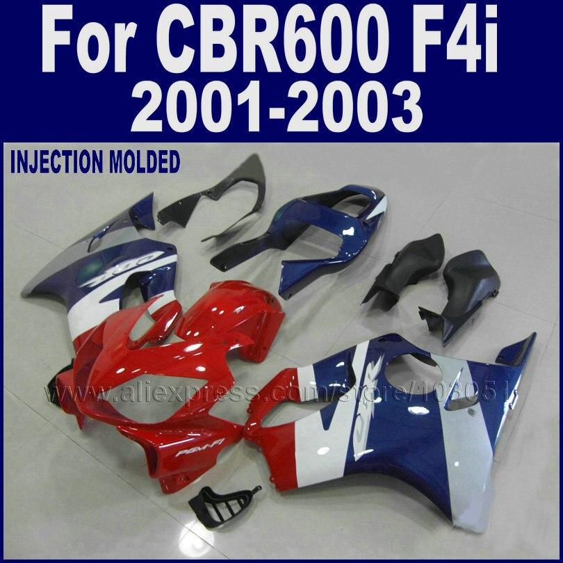 Moto custom road carenature kit per honda cbr 600 f4i carenatura set 2001 2002 2003 CBR 600 F4i 01 02 03 rosso blu carrozzeria parte