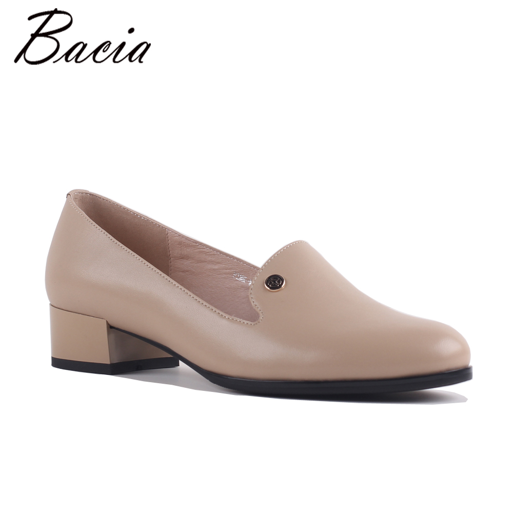 Bacia Pink Flats Sheepskin Women Spring Autumn Simple Comfortable Flat shoes Soft Leather Ladies Casual Street Footwear SB062 2018 leather shoes women spring summer simple nude color female flats soft sole breathable footwear free shipping