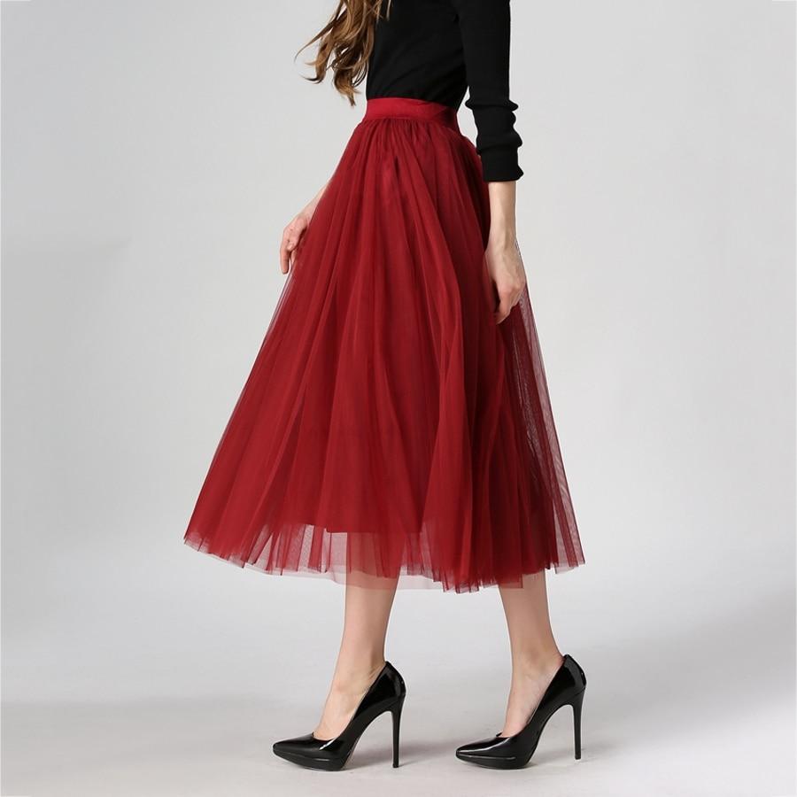 Longues Femmes Mode Noir 2016 de Rouge Plissée Maille Mode Jupes Ourlet dans Tulle saia Jupes Été Femme et Maxi Jupe Taille Haute Printemps Grand feminina aq7qxpYwB