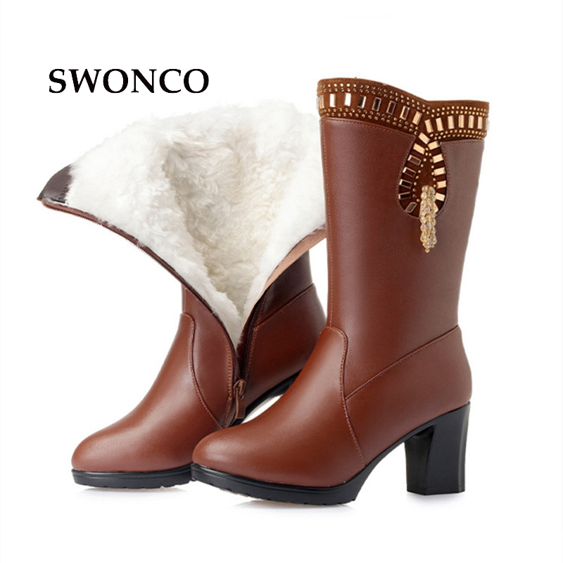 SWONCO Women Winter High Boots Warm Wool Genuine Leather Ladies Mid-calf Boot Women Boots High Heels Platform Woman Winter Shoes