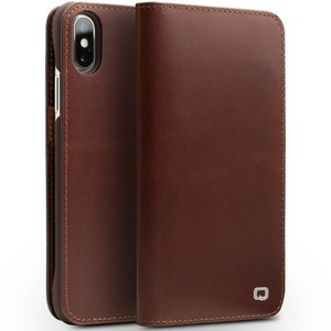 Image 2 - QIALINO Genuine Leather Phone Case for iPhone X Handmade Luxury Ultra Slim Wallet Card Slot Button Bag Flip Cover for iPhone X
