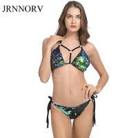 JRNNORV Sexy Sequins Circle String Halter Bikini Set Sparkle Two Piece Push Up Padded Bra