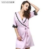 Yeni Geliş Bayan Dantel Ipek Uyku & Lounge Iç Çamaşırı Günaha Klasik Gecelik Kimono Pijama Robe elbise Ile Kemer 0016