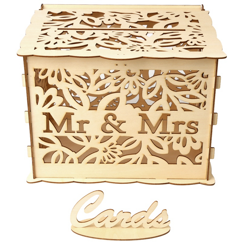 Hollow Wood Diy Wedding Wooden Box Mr Mrs Wedding Sign Card Box Flower Gifts Holder Party Wedding Post Box Card Holder(China)