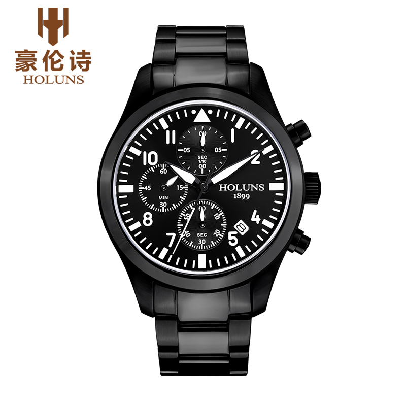 ФОТО HOLUNS Military Watches men luxury brand full steel sports quartz watch multifunction noctilucence 3 dial analog Wristwatches