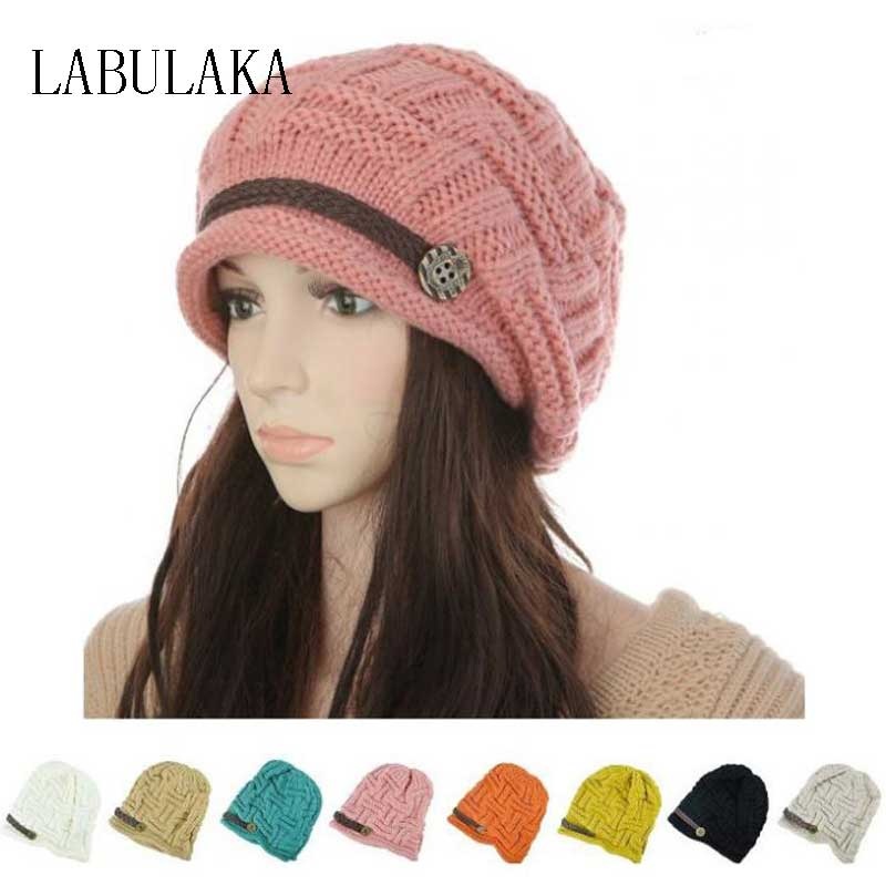2015 Women Winter Knitted Beanies New Fashion Womens Hats Warm Black Ladys Caps Acrylic Womans Headwear Hat For Female