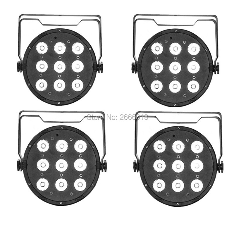 4 pcs/lot LED Par 9x12W 4in1 RGBW LED Stage effect Light LED Flat Slim Par Quad Can With DMX512 Flat DJ led equipments 20pcs lot led slim par light 7x3w 9w rgb 3in1 or 7x4w 12w rgbw 4in1 or 7x15w rgbwa 5in1 flat par38 dmx