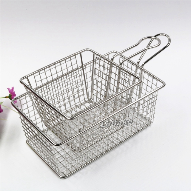 Kitchen Drainer Basket Table Small 2units Set Big Holes Square And Rectangle Stainless Steel Fried Food Strainer Sieve Draining Baskets Cooking