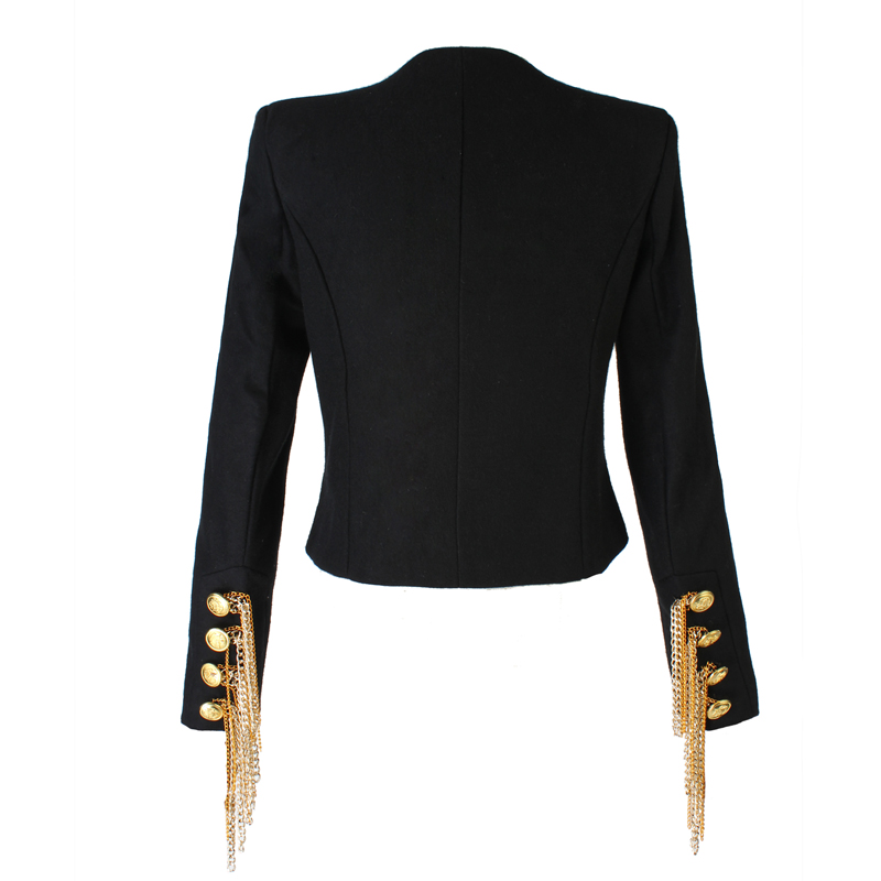 2019 New black jacket woman Vintage Short Tassel female jacket Long sleeve Golden button spring Autumn Casual women 39 s slim coat in Jackets from Women 39 s Clothing