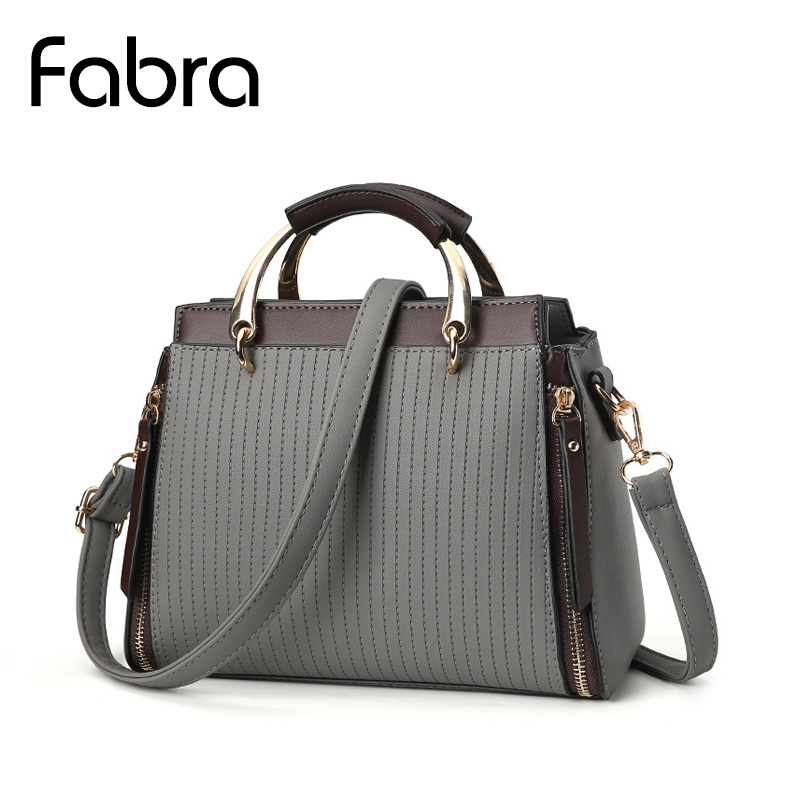 Fabra New Striped Fashion Women handbag Bag Handbags Women Messenger Bags Crossbody Small Pu Leather Ladies Shoulder Bags Grey
