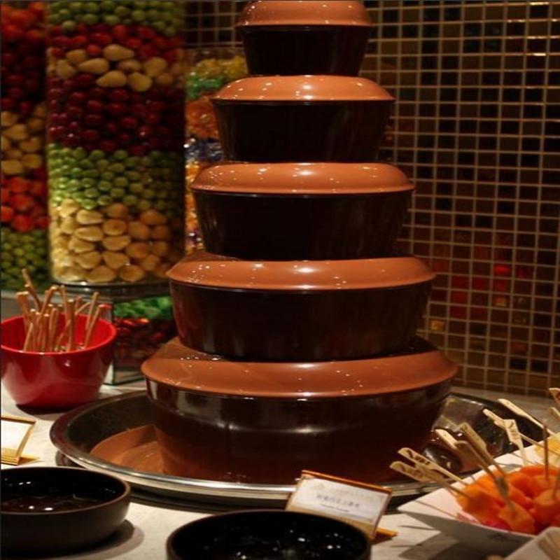 110 В/220 В коммерческих Электрический шоколадный фонтан машина 6 слоев для Семья большой вечерние ЕС/AU/ великобритания/США Plug