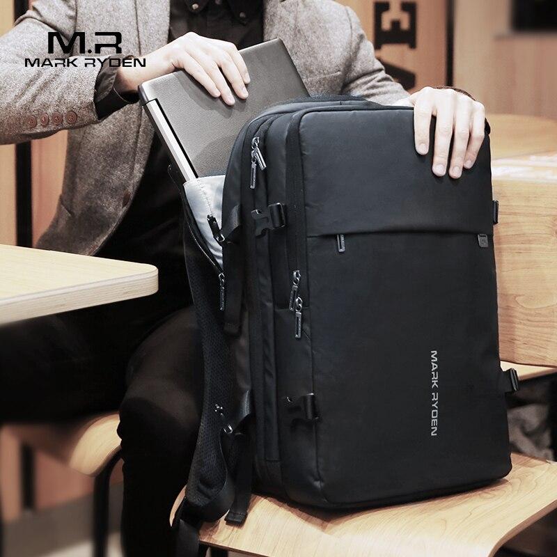 Mark Ryden hombre mochila ajuste 17 pulgadas portátil recarga USB Multi-capa de viajes espaciales hombre bolsa Anti-ladrón mochila