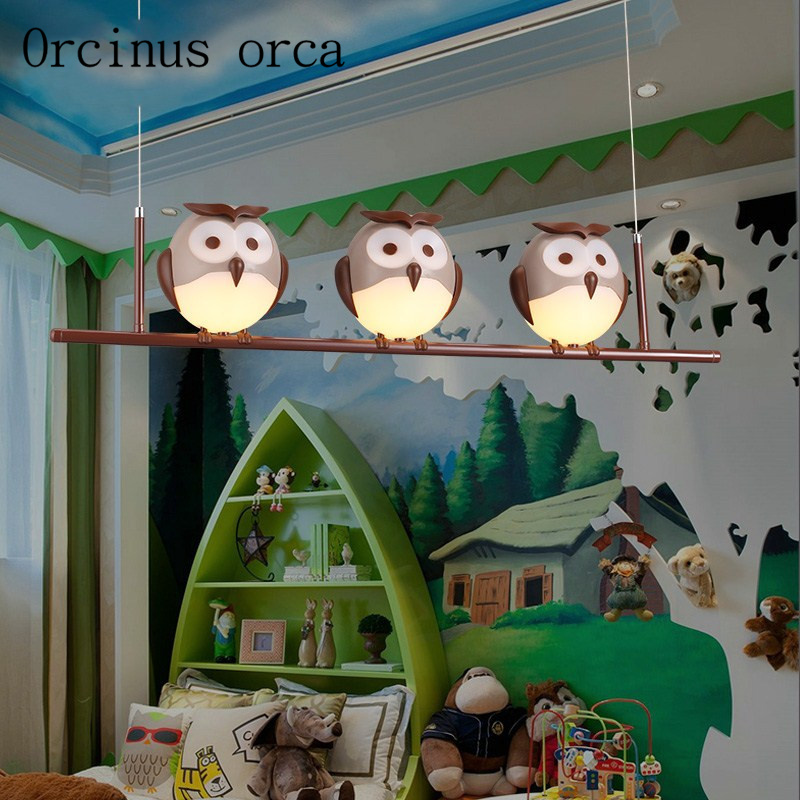 Cartoon cute owls children's chandeliers boys and girls bedroom creative warm protective eyes chandelier free shipping