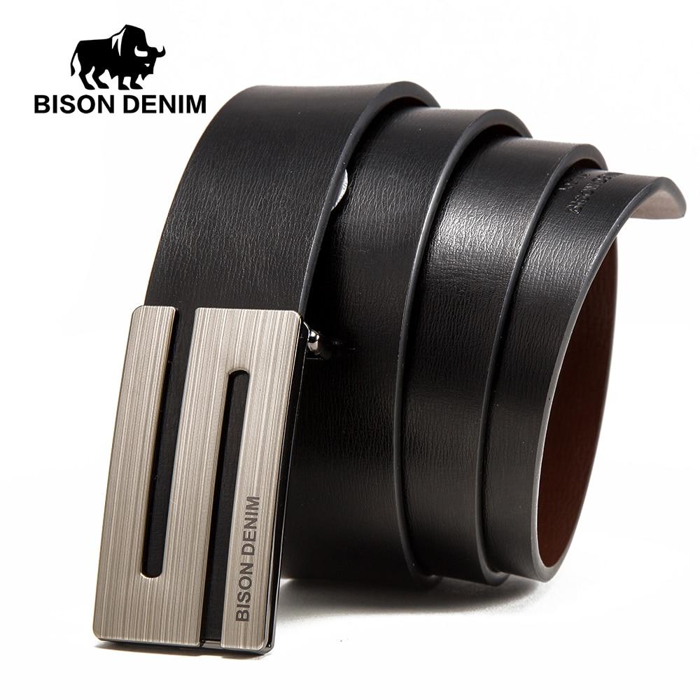 BISON DENIM Genuine Leather Men   Belts   3.4cm Width Cowskin Leather   Belt   For Men Business Male   Belts   Strap Husband Gifts N71370