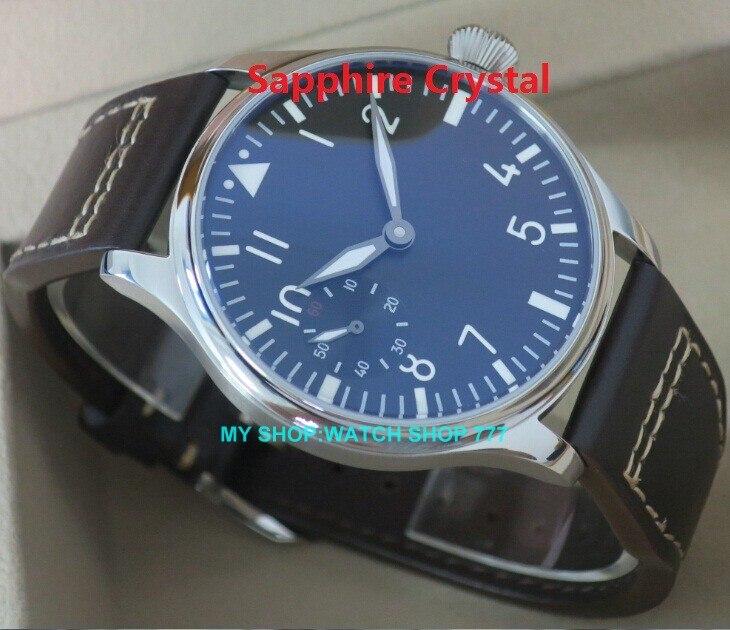 Sapphire Crystal PARNIS 6497 ST3600 gooseneck tube Mechanical Hand Wind men s watch High quality Mechanical