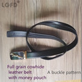 2016 togo  leather  strip with hide money pouch black full grain genuine  leather   zipper belts