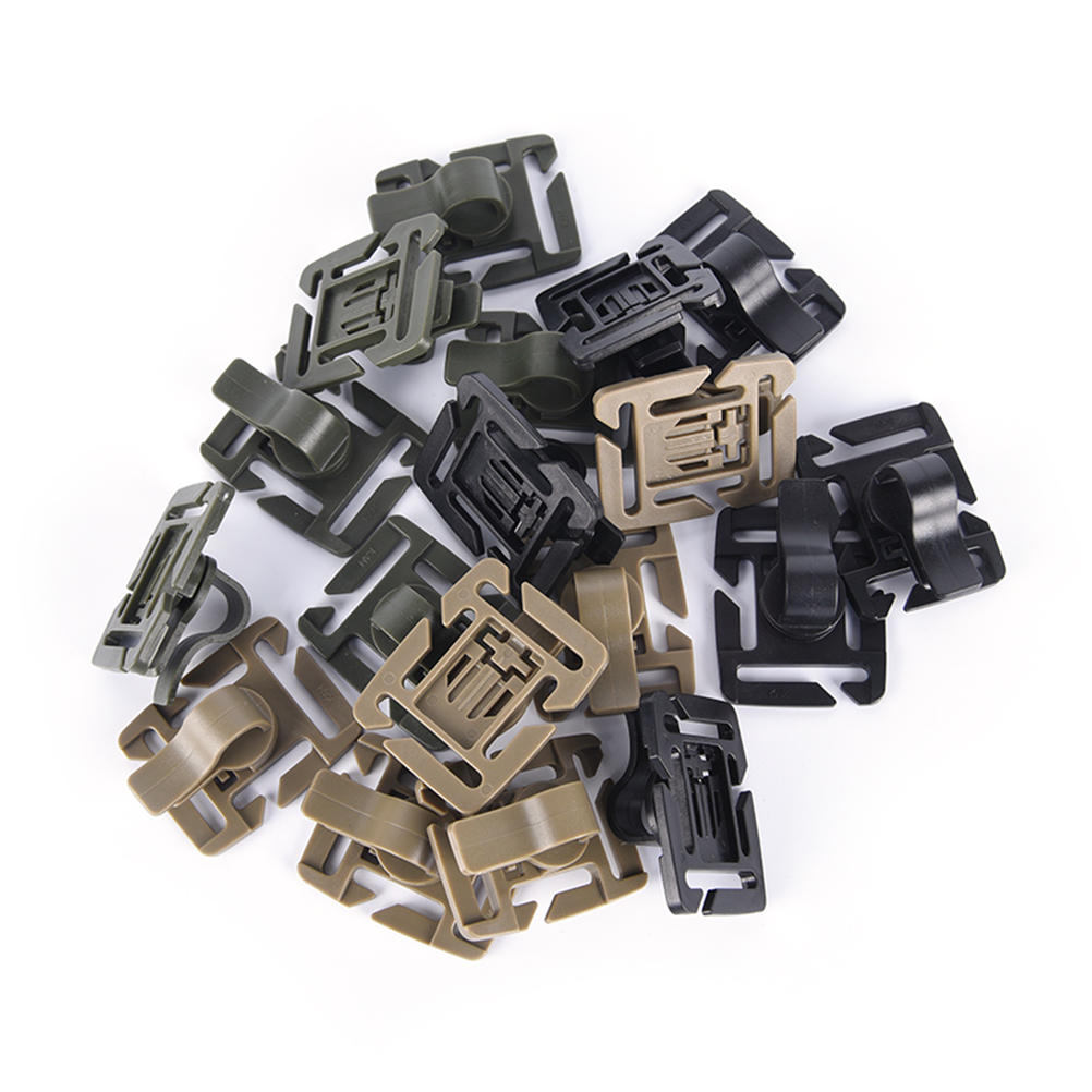New 5Pcs Drinking Tube Clip Rotatable Molle Hydration Bladder Drinking Straw Tube Hose Webbing Clip For Water Pack Bag