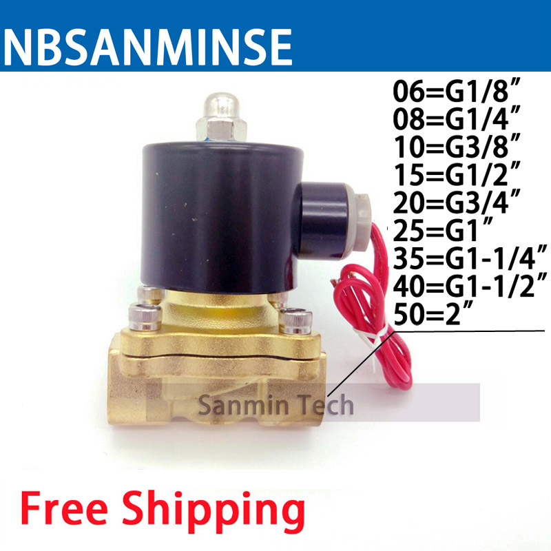 цены NBSANMINS Solenoid Valve 2W025 1/8 1/4 3/8 1/2 3/4 Brass Normally Closed Electric Valve for Water Oil Air Diesel-Gas Fuels