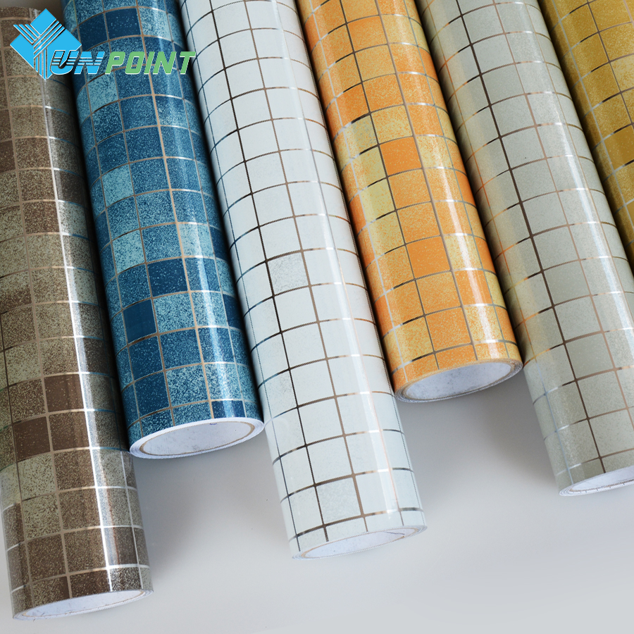 45cmX3m Bathroom Tile DIY Wall Sticker Coffee Mosaic Decorative Film PVC Self Adhesive Wallpaper Waterproof /No Need Extra Glue