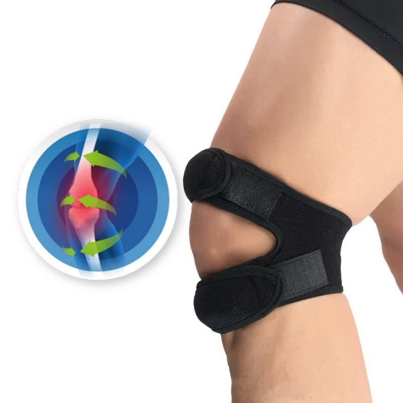 Nouveau 1 pièces pressurisé bande de genou manchon soutien Bandage Pad élastique bretelles genou trou genouillère sécurité basket-ball Tennis cyclisme