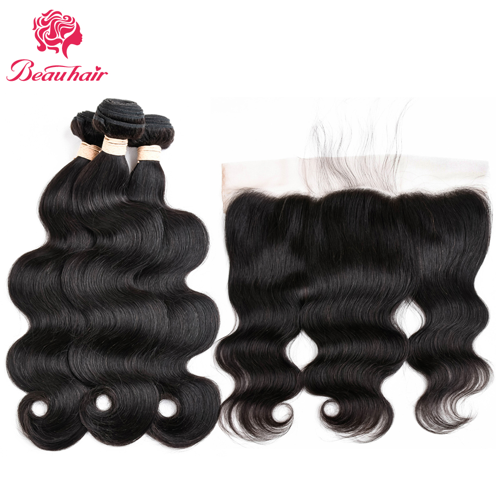 BeauHair Malaysian Ear To Ear Lace Frontal With Bundles 100% Human Hair Body Wave Lace Frontal With Baby Hair 1B# Non-Remy Hair