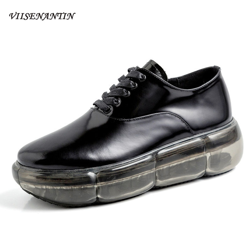 VIISENANTIN All Black Leather Lace Up Woman Sneakers Shoes Fashionable New Transparent Thick Bottom Daddy Old Shoes WomenVIISENANTIN All Black Leather Lace Up Woman Sneakers Shoes Fashionable New Transparent Thick Bottom Daddy Old Shoes Women