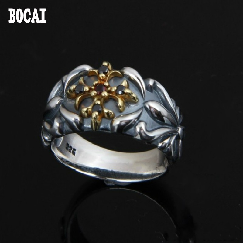 925 pure Silver Vintage Mature Personality Fashion Crusader Flower Zircon Thai Silver Ring