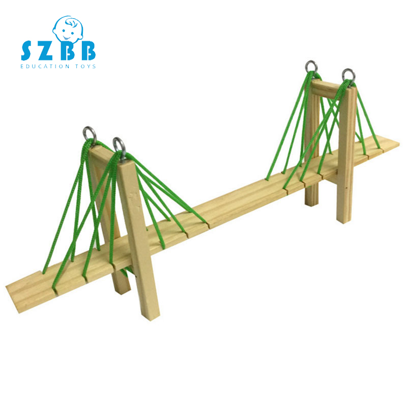 SZ STEAM Model Toy Diy Creative homemade cable stayed bridge Developing Intelligent STEM Wood Toy Science Physics Experiments