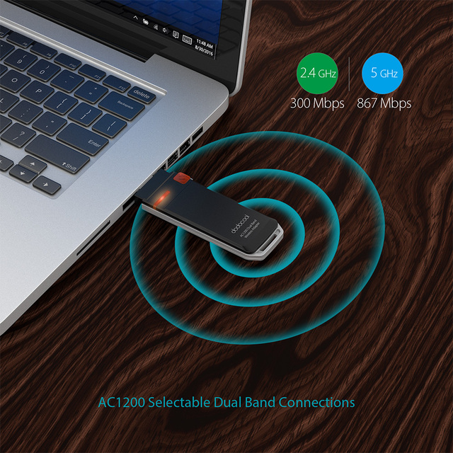 dodocool AC1200 Dual Band Wireless Network USB 3.0 Adapter Wi-Fi Dongle 2.4 GHz 300 Mbps or 5 GHz 867 Mbps WPS Encryption