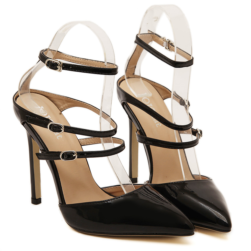 ФОТО chaussure femme ladies shoes New Summer  pumps women's high heels Pointed Toe Black White Stiletto sandals ladies shoes Pumps