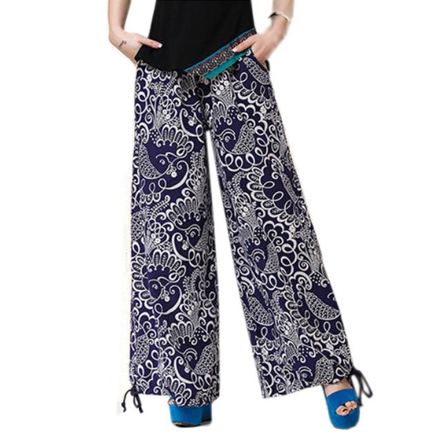 Estilo étnico de pierna ancha pantalones mujer pantalones de lino de  algodón Retro pantalones de cordón 2a0abd013e1