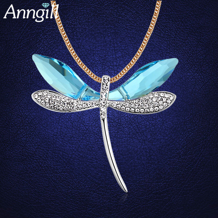 Luxury Crystals From Swarovski Dragonfly Long Statement Necklace Gold Color Sweater Chain Ladies Necklaces Jewelry Accessories