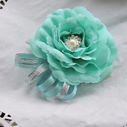 Ручной работы шелковый горный хрусталь Невеста Искусственный Роза бутоньерка брошь цветочное свадебное украшение синий