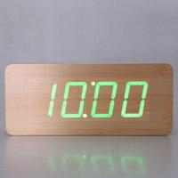 En bois Horloge Numérique LED De Bureau Réveil avec Vert Blanc Lumière LED Affichage En Bois Alarme Horloge Électronique Horloges de Bureau
