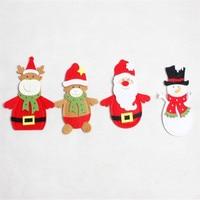 DoreenBeads 2017 Christmas Santa Claus Deer Snowman Knife Fork Tableware Bag Holders Pockets Dinner Table Decor 2PCs