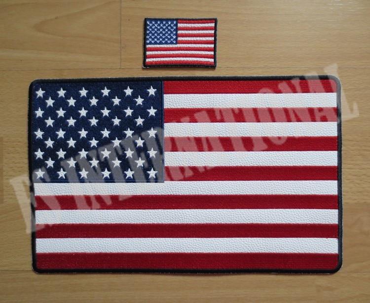 11,6 инча Америка флаг Бродерия Пакета за яке яке назад жилетка Мотоциклет мотоциклет 29,6 см * 18,5 см