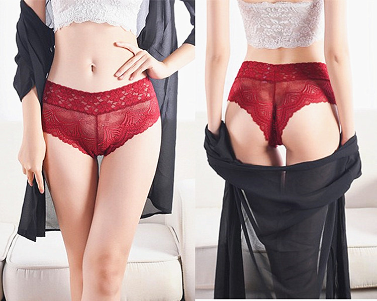 2019 New Sexy Lace   Panties   Women's Underwear Transparent Sheer Lace Briefs Tangas Knickers Women's Pants Plus Big Size XL XXL