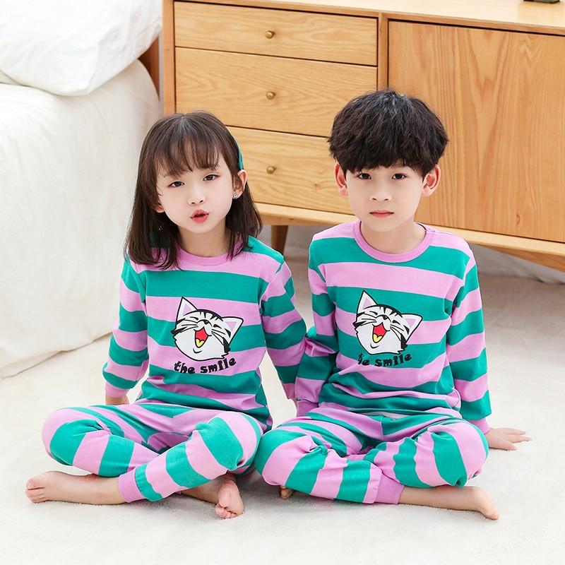 2-13Y Children's Sleepwear Pajamas Sets 100% Cotton Winter Girls Boys Pajama Pyjamas Kids Baby Pijamas Infantil Indoor Nightwear