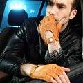 Moda 2017 de Los Hombres de piel de Venado Mitones Sin Dedos de Muñeca Guantes de Medio Dedo de Guante de Conducción Sólida Adulto Real Cuero Genuino EM001W